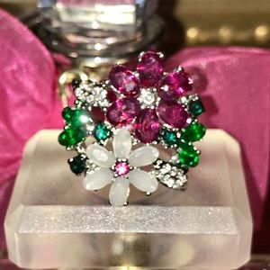 BEAUTIFUL FLORAL GEMSTONE RING•STAINLESS STEEL